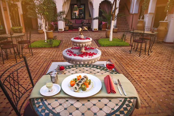 Dining in the courtyard