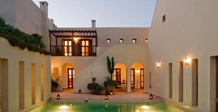 Riad Valmar pool terrace at night