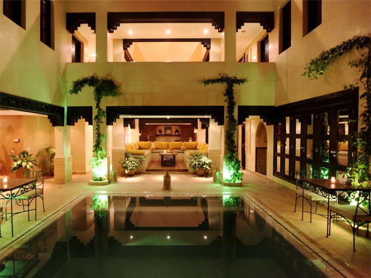 Courtyard Pool Area by Night