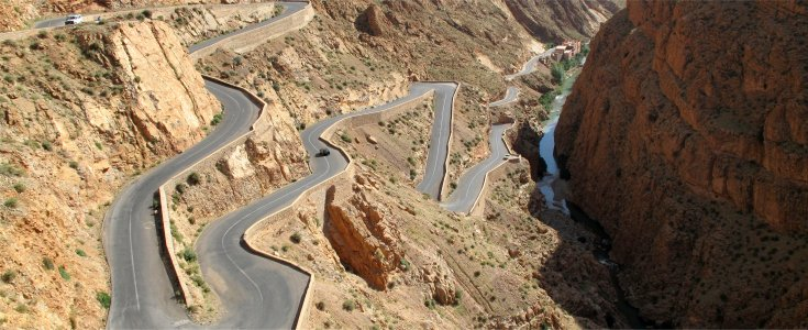 Steep spiralling roads